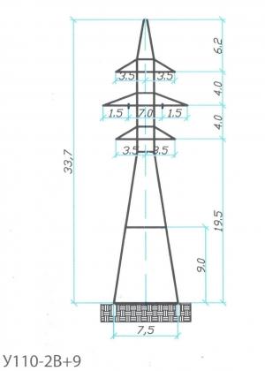 Анкерно-Угловая опора У110-2В+9